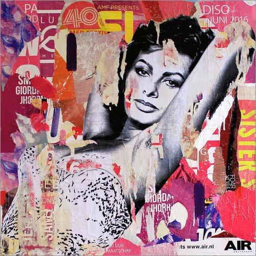 Poster 30 x 30 cm: Sophia Loren di Michiel Folkers - stampa artistica professionale, nuovo poster artistico