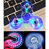 NiceTime Tri-Spinner Clear LED Fidget Spinner Toy, High Speed Hand Spinner ADHD Anxiété pour les enfants et les adultes (bleu)