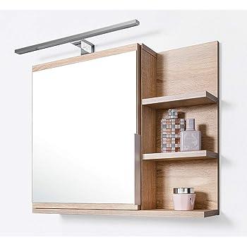 Amazon De Domtech Badezimmer Spiegelschrank Mit Ablagen Und Led