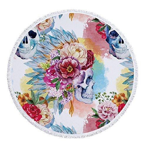 Vesub Rond Mandala Drap de Plage personnalisé Décoration Murale à Suspendre Beach Plaid Tapis de Yoga Chle Crème Solaire avec Pompons Tête de Mort pour Femme