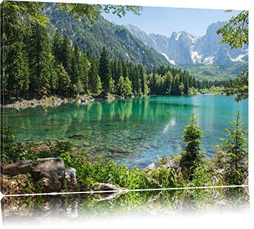 Wunderschöner See im Wald Format: 120x80 auf Leinwand, XXL riesige Bilder fertig gerahmt mit Keilrahmen, Kunstdruck auf Wandbild mit Rahmen, günstiger als Gemälde oder Ölbild, kein Poster oder Plakat