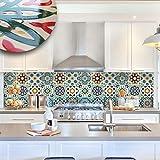 wall art (Confezione da 12 pezzi) Adesivi per piastrelle con effetto ceramica a rilievo formato 20x20 cm - PUV0007 Decorazione adesive effetto ceramica per bagno e cucina Stickers design - Safi