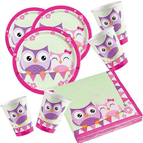 Amscan 52-Teiliges Eulen Party Set für 16 Kinder Geburtstag Tisch Deko Mädchen Pink Lila Teller Servietten Becher