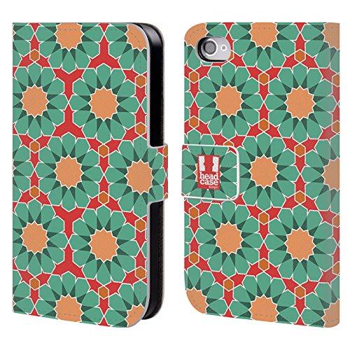 Head Case Designs Ciano Pattern Marocchini Cover a portafoglio in pelle per Apple iPhone 5 / 5s / SE Verde Chiaro