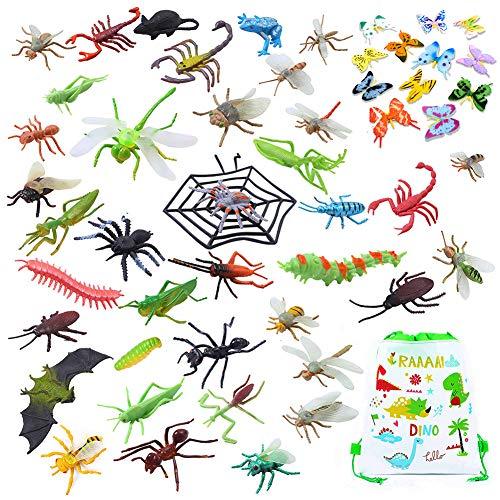 MORETRY 51 Pcs Kunststoff Insekten Spielzeug | Plastik Käfer für Kinder, Tierfiguren Set, Halloween Spielzeug