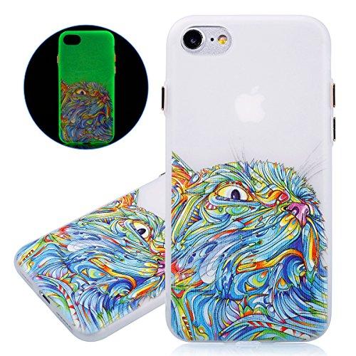 Coque iPhone 7, Etui iPhone 7, ISAKEN Peinture Style TPU Coque pour Apple iPhone 7, Ultra Mince Souple TPU Silicone Lumineux Fluorescents Dans Le Noir Etui Housse de Protection Coque Étui Case Cover,  Chat coloré
