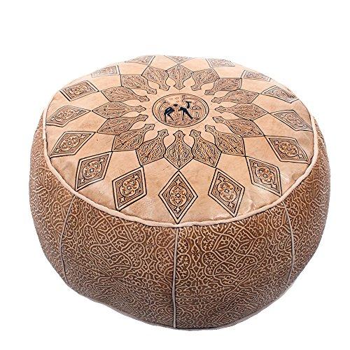 albena Marokko Galerie 30-113 Poufs orientalisches Sitzkissen Leder natur D 50cm / H 26cm