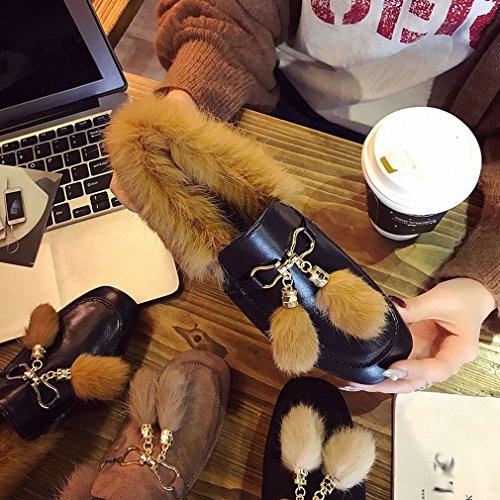 ANI Scarpe Quadrate Europee con Uno Spesso Ruvido con Scarpe Peluche Femminile Autunno e Inverno Più Scarpe in Cotone Cashmere UN