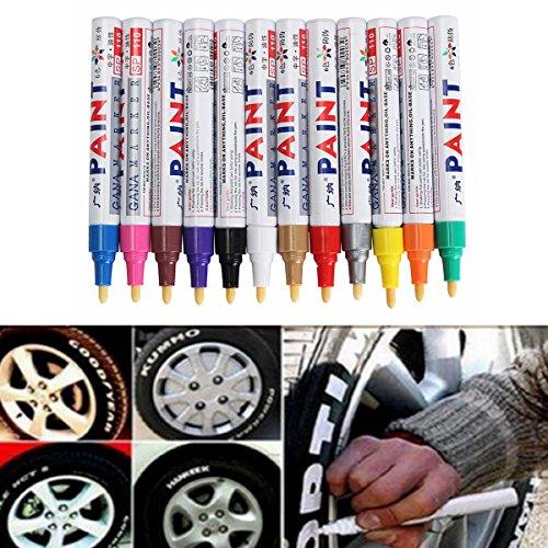 JenNiFer 12Pcs Farbe Reifen Permanent Lackstift Reifen Metall Außenmarkierung Tinte Marker Trendy - Gold