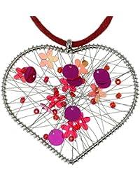 behave Collier Tressé en Chaîne de Couleur Rouge - Collier pendentifs avec pendentifs Coeur - Collier Coeur d'amour pour Elle