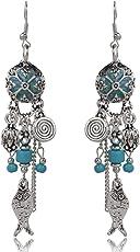 Sansar India Oil Painting Turquoise Beads Fish Flower Tassel Dangle Earrings for Girsl and Women…