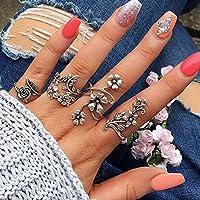 Mieoson Blumen Ring Set, Vintage 4 Stück Ring Set Bohemian Blume Silber Ringe Punk Knuckle Ring Set für Frauen by