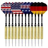 Sametop 12 Packs Steel Tip Darts Set with National Flag Flights, Aluminum Shafts and Brass Barrels 18 Grams