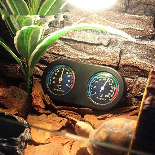 2ALice&PetThermometer-Zubehör Doppelscheibentemperatur- und Luftfeuchtigkeitsmessgerät Schildpatt schwarz Eidechse Terrarium Klettern Tierbox Reptil Spinne Thermometer Zubehör