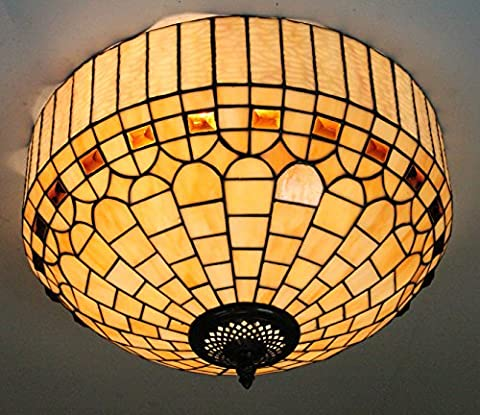 16-Inch European Retro Royal Style Tiffany Stained Glass Flush Mount
