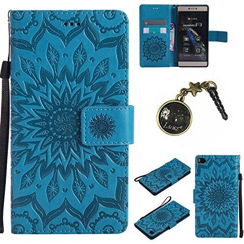 Preisvergleich Produktbild PU Silikon Schutzhülle Handyhülle Painted pc case cover hülle Handy-Fall-Haut Shell Abdeckungen für (Huawei P8) +Staubstecker (4FF)