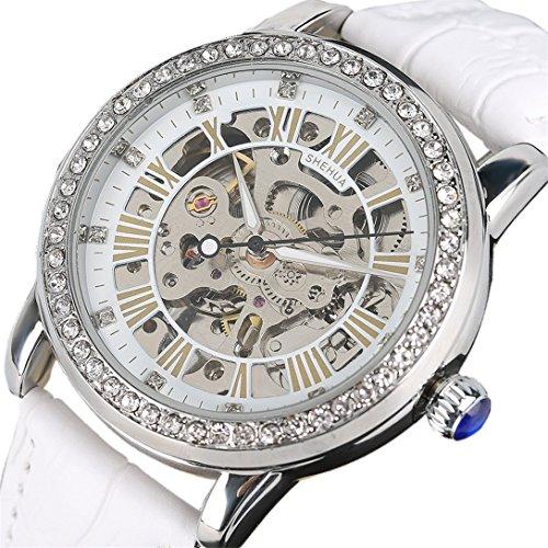 Yisuya Automatik-Edelstahl-Armbanduhr mit weißem Lederarmband für Damen, aus Top-Qualität in Geschenk-Box, mit Strass im Skelettuhren-, Steampunk-Stil