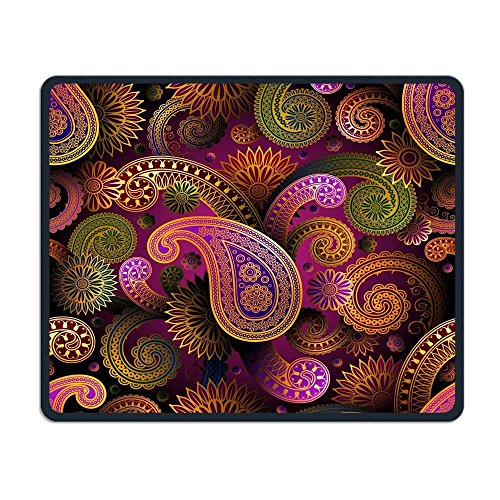 Computer Mouse Pad, Floral Print Paisley Pink Yellow Mouse Pads, Magic Keyboard PC Gaming Optical Laptop Wired SurfaceMouse Pad Mat for Women Men at Home or Work -