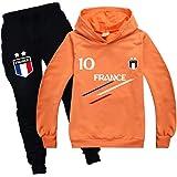 Ambcol - Conjunto de deporte para chándal de fútbol de Francia con 2 estrellas para niño, sudadera con capucha y bolsillo