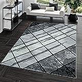 TT Home Kurzflor Teppich Preiswert Pflegeleicht Raute Muster Marmor Optik Grau Anthrazit, Größe:240x340 cm