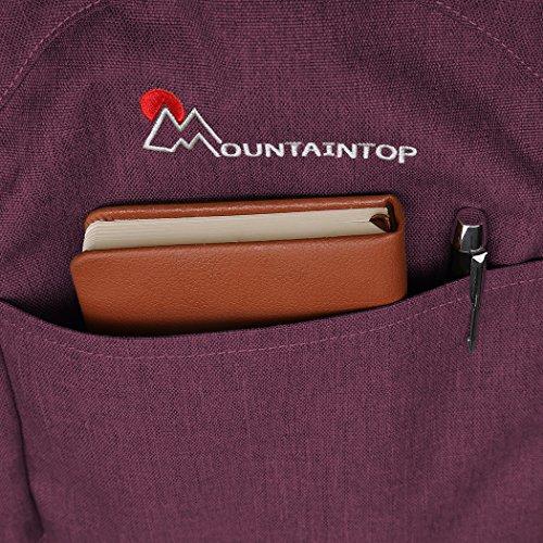 Mountaintop 25L/30L dauerhaft lässig Daypack Studenten Rucksack ideal für die Uni lässige Tasche, 44 x 28 x 13 cm/33x19x50 cm Jujube rot 1