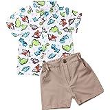 Geagodelia Juego de dinosaurios de 2 piezas completos para recién nacidos niños camisa de manga corta + pantalón corto Juego