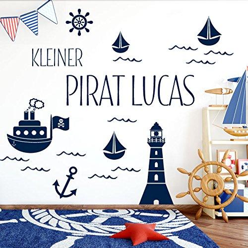 Grandora W5429 Wandtattoo Kleiner Pirat Wunschname Leuchtturm Schiffe Kinderzimmer dunkelblau Kreativset (Schiffe, Uhren)