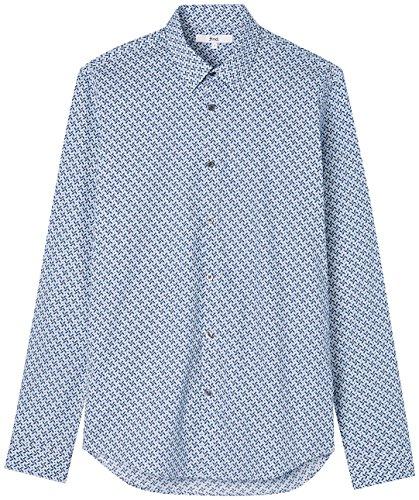 FIND Camisa Estampada Oliver Diamond para Hombre, Azul (Navy), Large