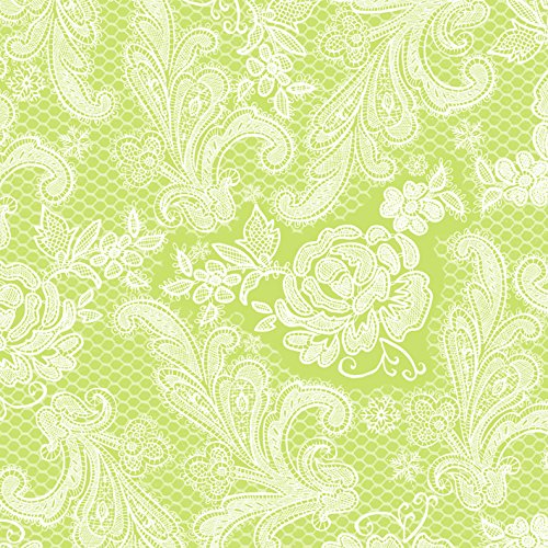 Servietten Lace Royal embossed pastel lime white 33 x 33 cm ppd 007882 -