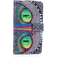 Qiaogle Teléfono Case - Funda de PU Cuero Billetera Clamshell Carcasa Cover para Asus Zenfone 2 Laser 5.5 ZE550KL (5.5 Pulgadas) - YH20 / Azul Ojos búho