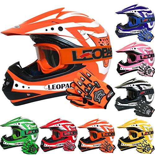 Leopard LEO-X17 *ECE 2205 Genehmigt* Kinder Motocross MX Helm Motorradhelm Crosshelm Kinderquad Off Road Enduro Sport + Handschuhe + Brille - Orange L ()