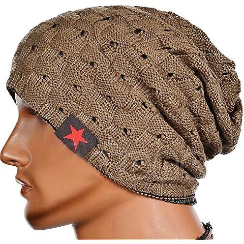 HSL Man Hat / Cappello / Protezione Hollow Knit Caldo, Lana, Cachi, 22 * 28Cm