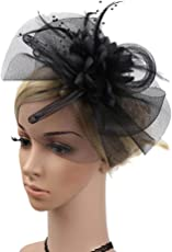 Voberry- Fashion Wedding Mesh Hat Fascinator Ribbon Feather Cocktail Tea Party Headwear