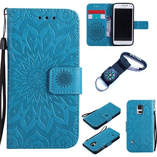 Preisvergleich Produktbild für Samsung Galaxy S5 mini Hülle Blume Premium PU Leder Schutzhülle für Samsung Galaxy S5 mini Bookstyle Tasche Schale PU Case mit Standfunktion+Outdoor Kompass Schlüsselanhänge) #Q