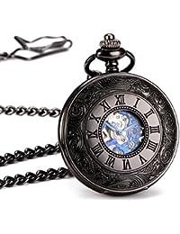 ManChDa® Antiguo Mecánica Reloj de bolsillo Caso de Hueco Negro Brillante Retro Disco de Esqueleto con Movimiento Plata Hombres Mujeres con Cadena + Caja de regalo