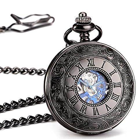 ManChDa® Antique Montre de Poche mécanique Bright Case Creux Noir
