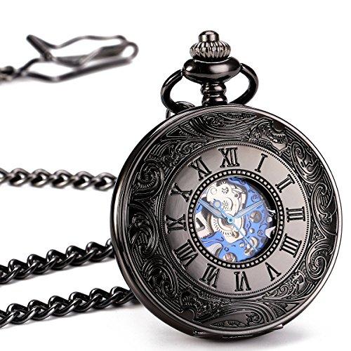 ManChDa® Antik Mechanische Taschenuhr Leuchtend Schwarz Hohl Fall Retro Skelett Zifferblatt mit Silbernen Bewegung für Männer Frauen mit Kette + Geschenk-Box