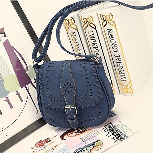 Damen Kunstleder Kleine Umhängetasche Weben Stil Schultertasche Retro Hohl Muster Handtasche Blau