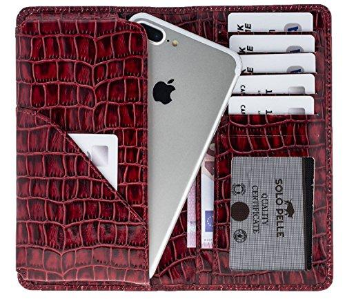"Solo Pelle iPhone 7 / 7 Plus / 6 / 6S / 6 Plus / 6S Plus Case Lederhülle / Reiseetui / Ledertasche ""Leony"" 4,7 bis 5,5 Zoll Geräte (Vintage Schwarz) Krokodil Prägung Rot"