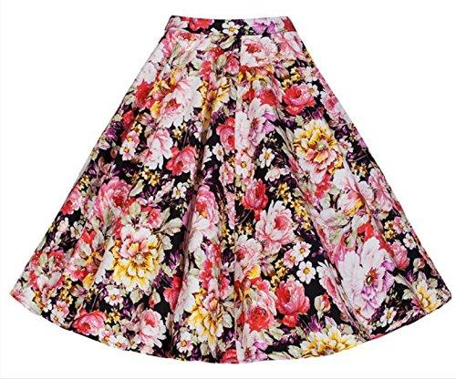 hippolo Damen Vintage Retro Hohe Taille Floral Printed A-Line Ausgestellte Rock 9 XXL