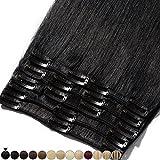 Extension Capelli Veri Clip 8 Fasce Remy Human Hair Full Head XL Set Lisci Lunga 10 pollici 25cm Pesa 75grammi, #1 Jet Nero