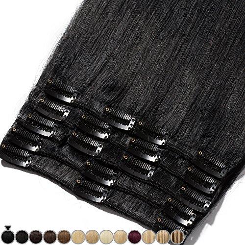 Extension capelli veri clip 8 fasce remy human hair full head xl set lisci lunga 16 pollici 40cm pesa 90grammi, #1 jet nero