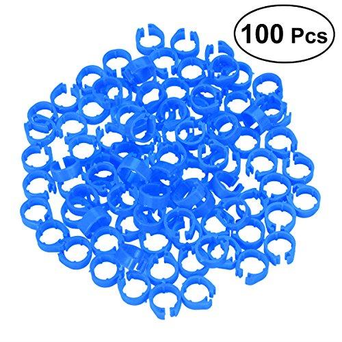 UEETEK 100PCS clip di plastica su gamba anelli tag piede per piccione pulcino piccolo pollame bantam (blu)