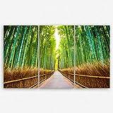 ge Bildet hochwertiges Leinwandbild XXL Naturbilder Landschaftsbilder - Bambus Wald in Kyoto - Japan - natur blumen grün - 165 x 100 cm mehrteilig ( 3 teilig )| Wanddeko Wandbild Wandbilder Wohnzimmer deko Bild | 2212 J