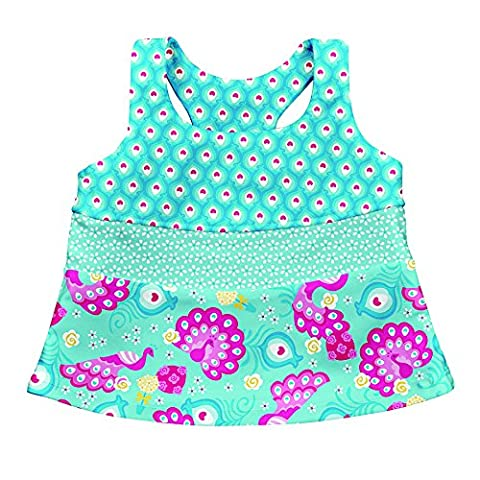 Iplay Mix and Match 2 pc Tankini Set Aqua Peacock Party Size 3T (24 36 Mois) Sun Protection 50+