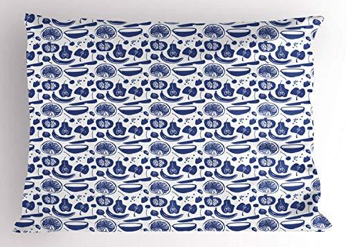 HFYZT Tropical Pillow Sham, Fruit Silhouettes Pattern as Pear Apple Cherry Strawberyy Banana Lemon, Decorative Standard King Size Printed Kissenbezug Pillowcase, 18 X 18 Inches, White and Violet Blue -