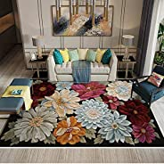 Classical Area Rugs Large 3D Flower Soft Carpet Living Room Bedroom Floor Mat (Rectangle,80 x 120cm)