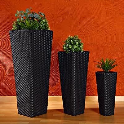 3x Blumentopf Rattan Blumenkübel Übertopf Planzenkübel Polyrattan Set Vase