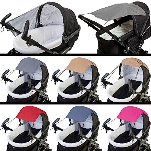 AltaBeBe Sonnensegel / Sonnenverdeck (UV-Schutz 50+) für Buggy / Kinderwagen (PEAR-Polyester) im angesagten MELANGE-Design (DUNKELGRAU)