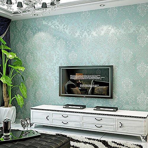3D Vliestapete Damaskus einfache europäischen Stil Schlafzimmer Tapete Wohnzimmer TV Hintergrundbild edle kaufen drei bekommen eins ( Color : Light blue )